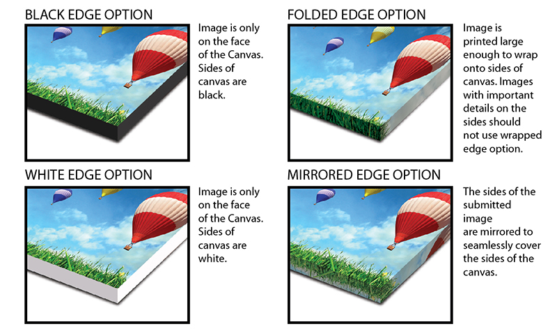 Gallery wrap edge options
