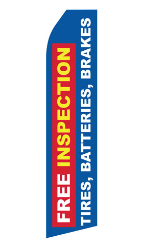 Free Inspection for Tires Brakes Batteries Econo Stock Flag