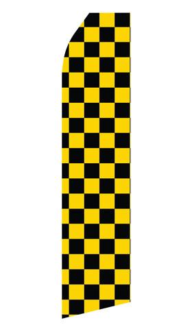 Black and Yellowed Checkered Econo Stock Flag
