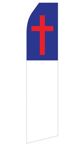 Blue White and Red Cross Econo Stock Flag