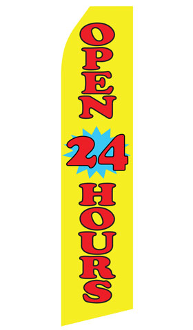 Yellow Open 24 Hours Econo Stock Flag