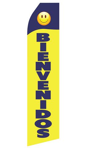 Blue Yellow Bienvenidos Econo Stock Flag