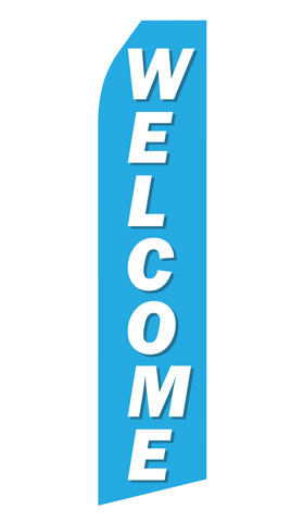 Blue Welcome Econo Stock Flag