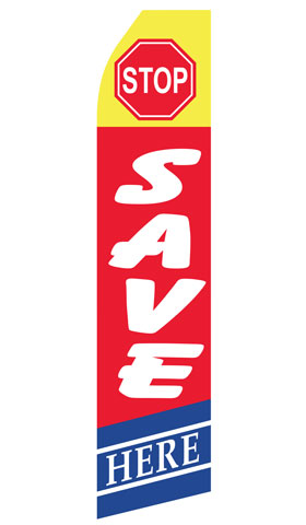 Stop Save Here Econo Stock Flag