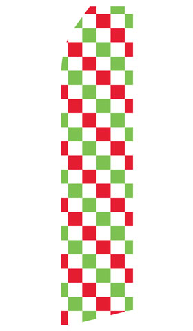 Red, Green, and White Checkered Econo Stock Flag