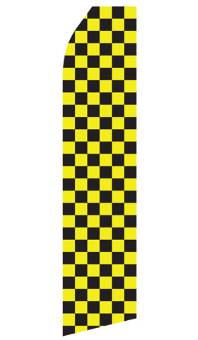 Yellow and Black Checkered Econo Stock Flag