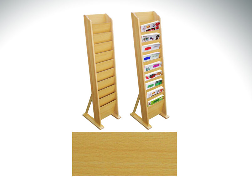 10-Pocket Wooden Magazine Rack
