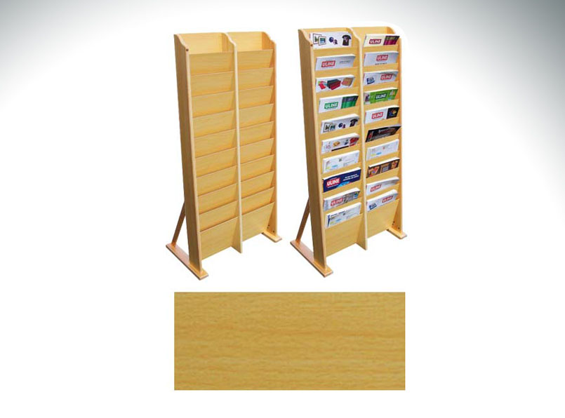 20-Pocket Wooden Magazine Rack